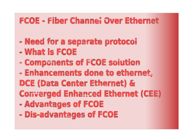 Fiber Channel Over Ethernet - FCOE