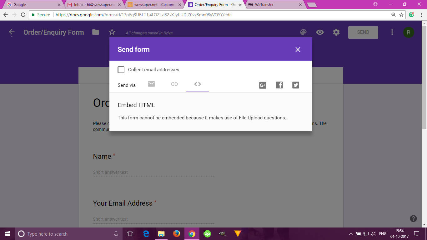 Google Forms - upload attachment