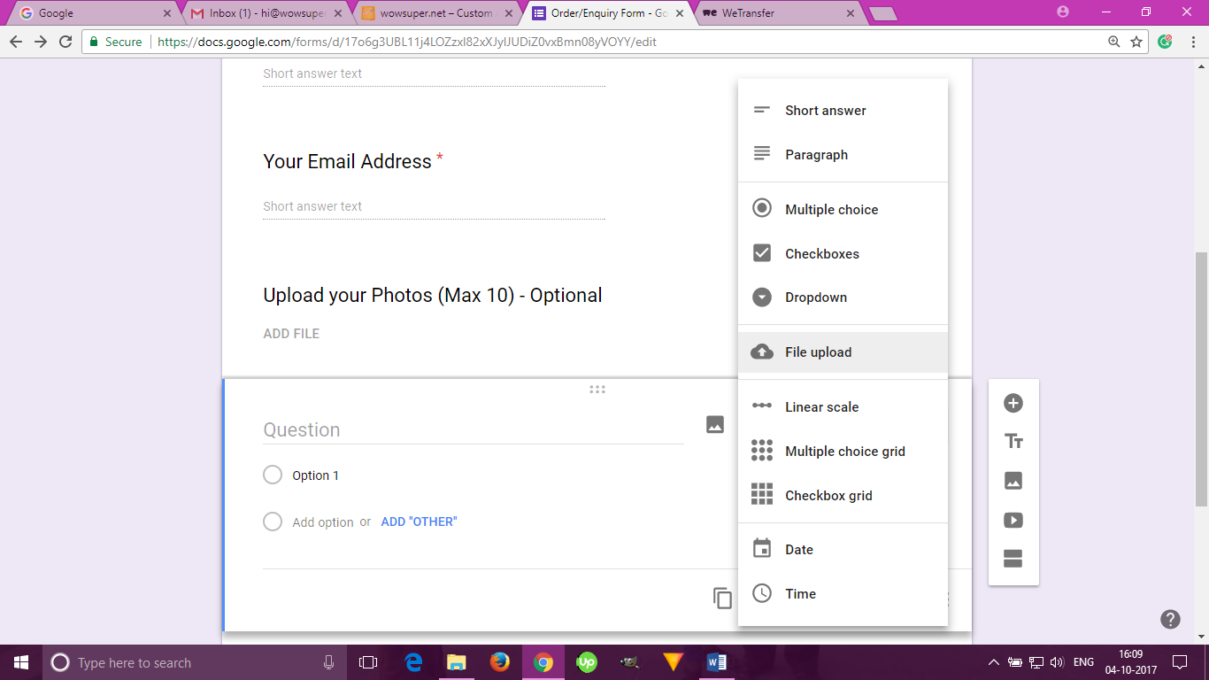 Google Forms upload attachment - 1